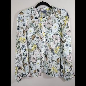 I Jeans by Buffalo Sheer Floral Top Size Petite XL
